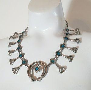 Vintage 70s faux turquoise squash blossom necklace